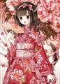 紅白牡丹の着物ドレスで年賀状/和花